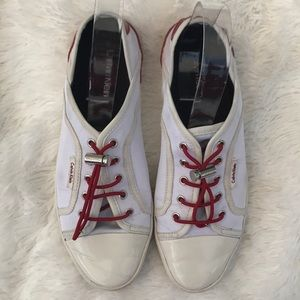 Calvin Klein white with red patent leather